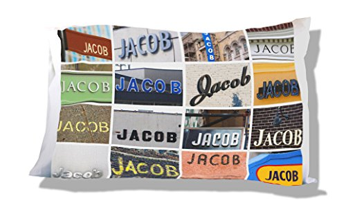 Jacobs Photo - Personalized Pillowcase featuring the name JACOB - photos of signs