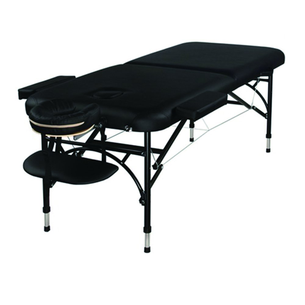 Super Stable PU Portable Aluminum 2 Sections Height Adjustable Light Weighted Massage Table For Spa Reiki Tattoo Physiotherapy. Free Carrying Bag (Black, 3) 3) GreenLife