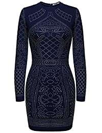 Meaneor Women Rhinestone Embellished Bodycon Slim Fit Sequin Club Dress