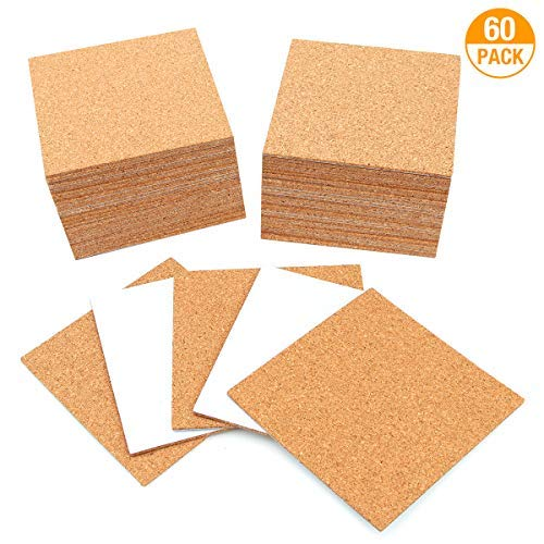 MANGZ 60 Pack SelfAdhesive Cork Coasters Squares 4quotx 4quot Mini Wall Cork Tile Set/Cork Mats Backing Sheets for Coasters and DIY Crafts