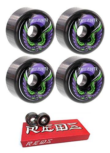 - Powell-Peralta 60mm Bomber 3 Black Skateboard Wheels - 85a with Bones Bearings - 8mm Bones Super Reds Skate Rated Skateboard Bearings (8) Pack - Bundle of 2 Items