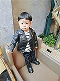 LOTUCY Baby Boys Kids Faux Leather Lapel PU