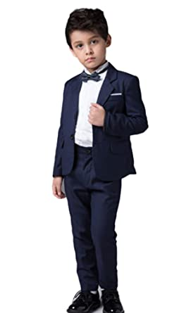 Icegrey Garçons Costume Bleu Marine Ajusté Costume de Mariage Page Boy  Costume Formel 4 pièces 2 692578ec255