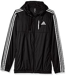 adidas Men\'s Athletics Essential Woven Jacket (Extended Sizes), Black/White, 5X-Large