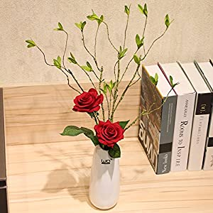 Emulation flower artificial flowers roses withered branches shoot ceramic vases kit floral decor dining table home flower 14