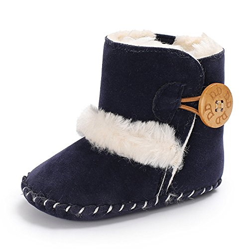 Isbasic Unisex Baby Snow Boots Infant Moccasin Soft Sole Fleece Warm Shoes (12-18 Months, Navy (Blue Fleece Winter Boots)