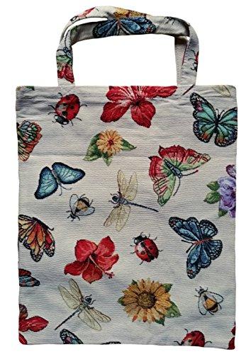 Einkaufstasche, Stofftasche Leinen 40 x 32cm, Motiv Schmetterling Libellen Käfer, Einkaufsbeutel Gobelin-Stil