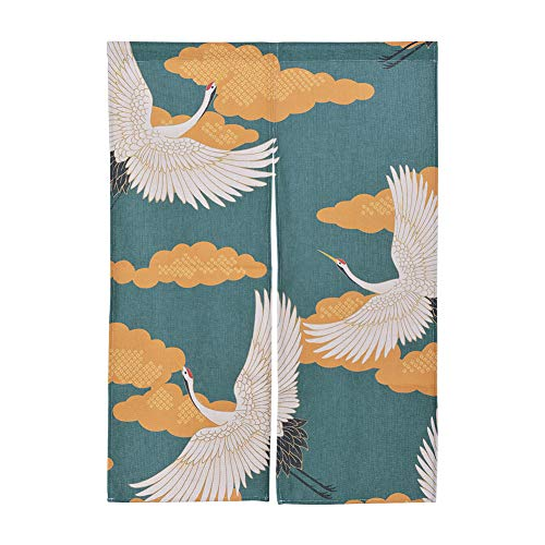 Xcellent Global Hanging Japanese Noren Curtain Panel with Fringe Sea Wave Custom Made Curtain Doorway Panel Room Dividers for Partition Home Restaurant 33.5 X 47.2 Inch (#1)