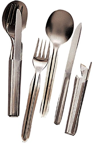 Chow Set Silver Stainless Steel Military Style 4 Piece Deluxe Chow Set