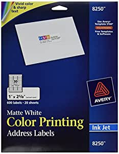 Avery Address Labels For Ink Jet Printers  8250 (20 Sheets)