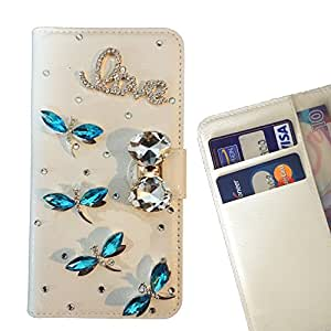 Cat Family Crystal Diamond Waller Leather Case Cover - FOR LG AKA/H778 - Dragonfly Love -