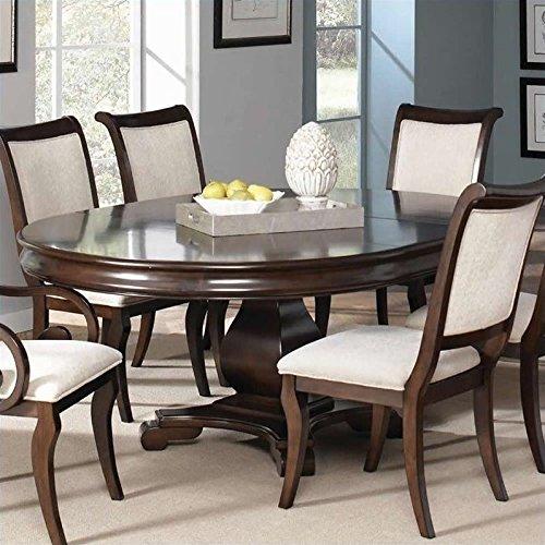 Coaster Harris Single Pedestal Dining Table in Deep Cherry