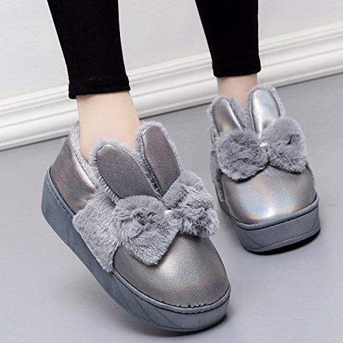 Inverno fankou spesse pantofole di cotone home soggiorno in camera pacchetto con tacco alto Cartoon carino caldo non-slip ,38-39, grigio (a))