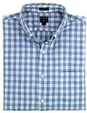 J. Crew - Men's - Slim-Fit Long-Sleeve Oxford Shirt (Medium, Soft Blue and White Checked)