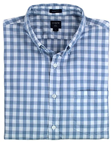 J.Crew - Men's - Regular-Fit Long-Sleeved Button Down Shirt (Multiple Color/Print Options) (Large, Soft Blue and White Checked) from J.Crew