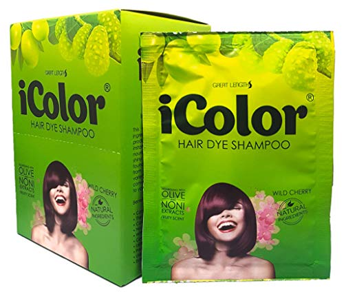 iColor Hair Dye Shampoo Wild Cherry 25ml (0.85 Oz) X 10 sachet in a box,Cherry hair color, dye
