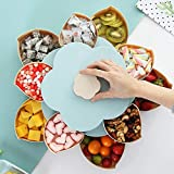 Hamkaw Double Layer Nut Serving Platter, Flower-Shaped Rotating Snack Containers with 10 Compartments Candy Appetizer Tray Dried Fruits Storage Organizer Snack Box for Party Home Picnic