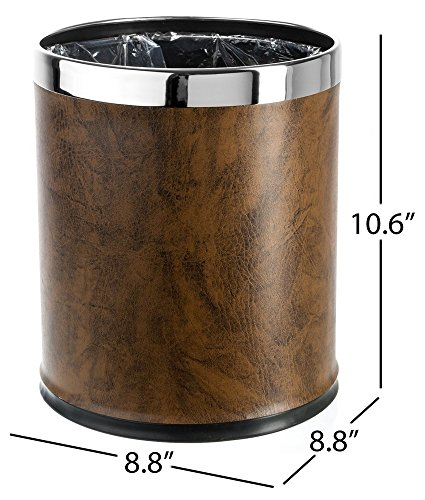 Brelso 'Invisi-overlap' open top Leatherette Trash Can, Small Office Wastebasket, Modern Home Décor, Round Shape (Brown)