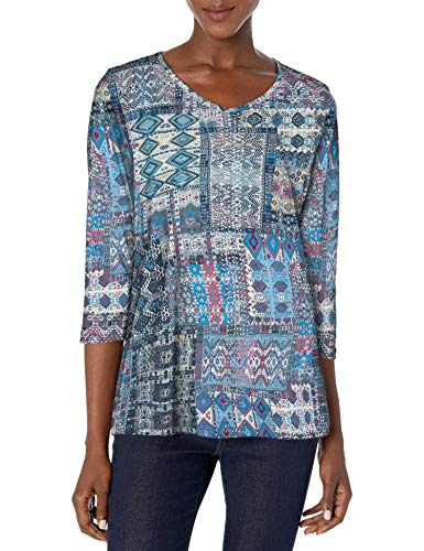Gloria Vanderbilt Women's Petite Teegan 3/4 Sleeve Top, Slate Grey - Kilim Patchwork, PXLarge