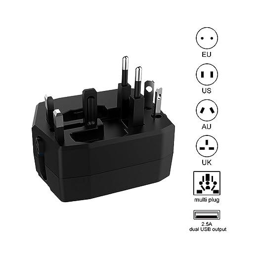15 opinioni per Travel Adapter con Power Bank Adattatore da Viaggio Caricatore USB con 2 Porte