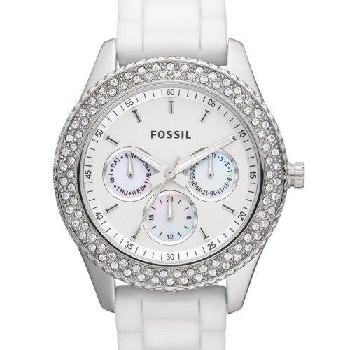 Amazon.com: Fossil Stella ES3001 Stainless Steel Case White Plastic Womens Quartz Watch: Watches
