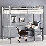 Costzon Twin Metal Loft Bed, Metal Bunk Bed with Ladders (Silver)