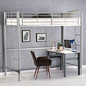 Costzon Twin Metal Loft Bed, Metal Bunk Bed with Ladders