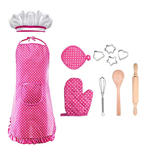 Christmas Xmas Gifts for 3-8 Year Old Girls, Chef Set for Kids for Toddler Dress Up Career Role Play Toddler Cooking and Baking Set Chef Costume Idea for Girls Pink DDCSF03 -