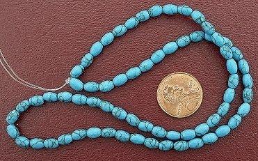 6x4 Rice Gemstone Synthetic Turquoise Beads