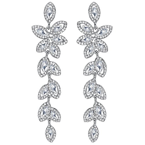 mecresh Silver Crystal Leaf Wedding Earrings Jewelry for Women Brides Bridesmaid (Crystal Wedding Earrings)