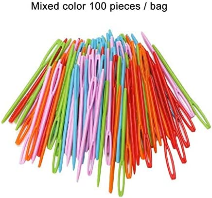 100 Pieces Plastic Sewing Needles for Kids Craft and Needle Projects Colorful Sewing Needles 9cm
