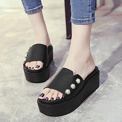 RUGAI-UE Llevar zapatillas Verano Mujer remaches inferior grueso High-Heeled zapatos zapatillas Black