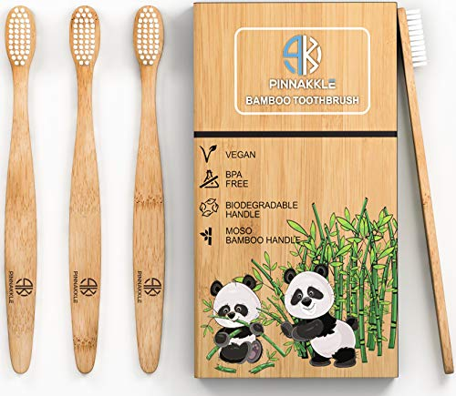 4-Pack Bamboo Toothbrush Set | Soft Bristle & Smooth Handle | BPA Free & Biodegradable Teeth Whitening Toothbrush for Adults & Children