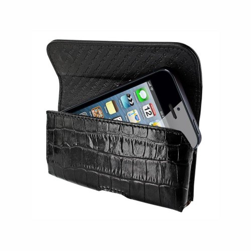 Piel Frama U602CO Horizontal Krokodil Optik Ledertasche für Apple iPhone 5/5S schwarz