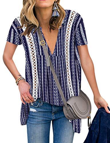 - ZXZY Women Long Sleeve V Neck Hollow Out Floral Print Shirt Tops Long Blouse Tee (XL, 3-Dark Blue)