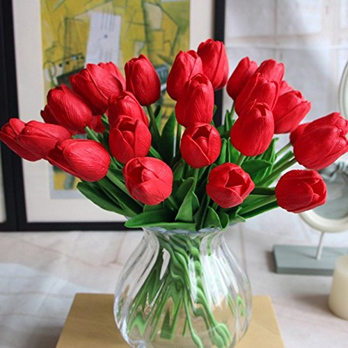 Shine-Co Single Stem Real PU Touched Artificial Tulips 10 Pcs Arrangement Bouquet with Glorious Moral for Home Office Wedding Parties (Red) (Single Stem Vases)