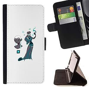 - style woman Kashmir teal fashion white - - Prima caja de la PU billetera de cuero con ranuras para tarjetas, efectivo desmontable correa para l Funny HouseFOR Sony Xperia M2