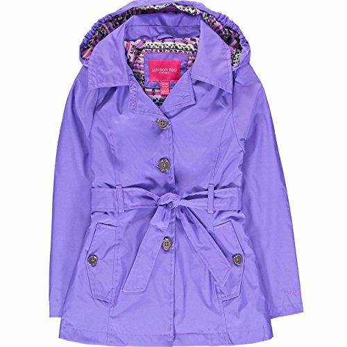 London Fog Girls' Radiance Trench Coat - Purple - 14/16
