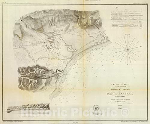 Historic Map | Chart Atlas | 1853 Santa Barbara, Calif. | Vintage Wall Art | 53in x 44in (Map Calif)