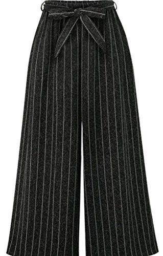 Polyester Box Pleat Table - HTOOHTOOH Womens Wide Leg Flare Box Pleat Palazzo High Tie Waist Long Pants Black L