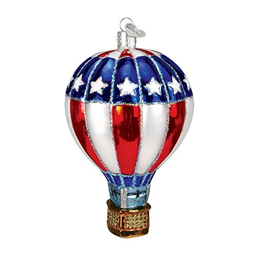 Old World Christmas Hot Air Balloon Blown Glass Christmas Ornament Red, White & Blue
