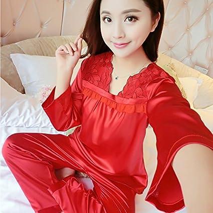 Wanglele Pijama Mujer Primavera/Verano De Manga Larga Y Pantalones De Satén De Seda Vestido