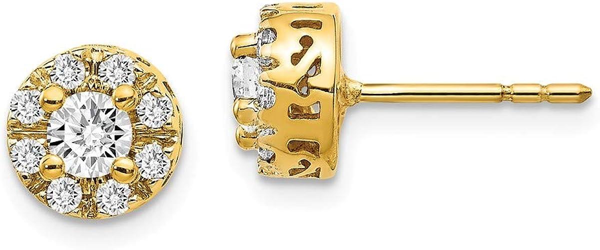14k Yellow Gold Stud Plus Diamond Earrings Semi Mount Amazon De Schmuck