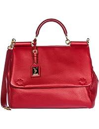 Dolce&Gabbana women's leather handbag shopping bag purse sicily red