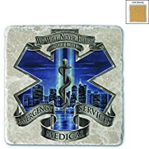 "Set of 4 Emergency Medical EMS Never Forget Black/Blue 4""Coasters in Box"