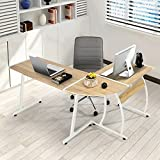 GreenForest L-Shape Corner Computer Office Desk PC Laptop Table Workstation Home Office 3-Piece (Oak)