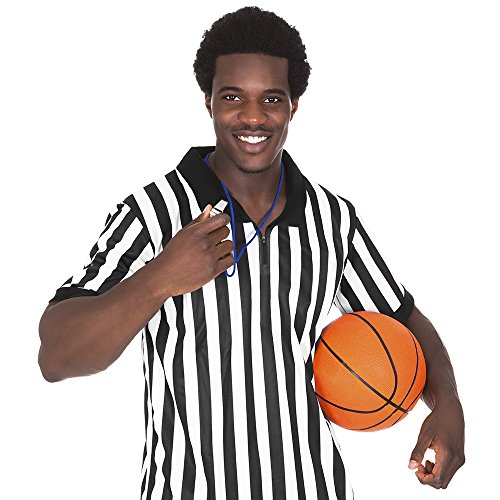Crown Sporting Goods Men's Official Black & White Stripe Referee / Umpire Jersey - Pro-style Ref Uniform, Great for Basketball, Football, & Soccer (L)