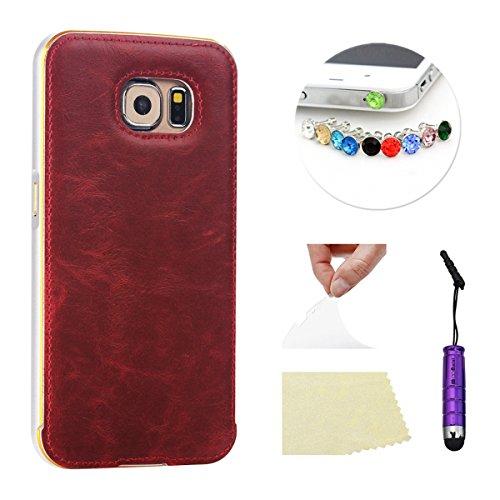 Samsung Galaxy S6 Edge G9250 Funda Case LifeePro Stylish 2 in 1 Patrón de teléfono híbrido Caballo Loco [Anti-rasguños] [Antideslizante] Resistente a los golpes PU Cuero rojo Contraportada + Caja de p Gris