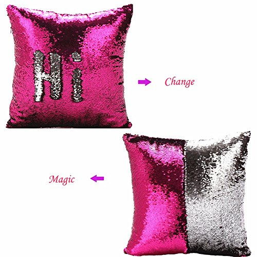 Flip Cushion - MOCOFO Glitter Pillow, Reversible Sequins Pillow Cover, Magic Mermaid Fish Pillowcase Parkly Fun Flip Shines Throw Pillow Cover Pink Silver Cute Color Changing Decor Cushion for Sofa Office16X16Inch