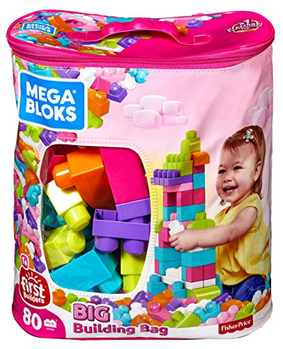 Mega Bloks Big Building Bag, Pink, 80 Piece (2 Year Old Birthday Present For Girl)